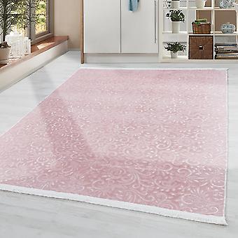Alfombra lavable Color sólido moderno patrón barroco antideslizante suave suave en rosa