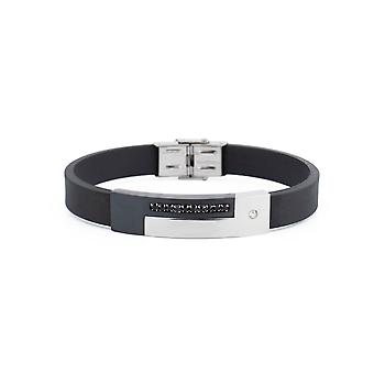 31MADISON leer zwart & kristal armband