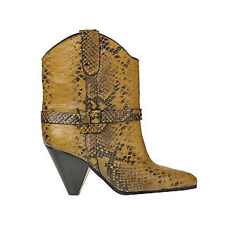 Isabel Marant Ezgl287039 Women's Yellow Leather Ankle Boots