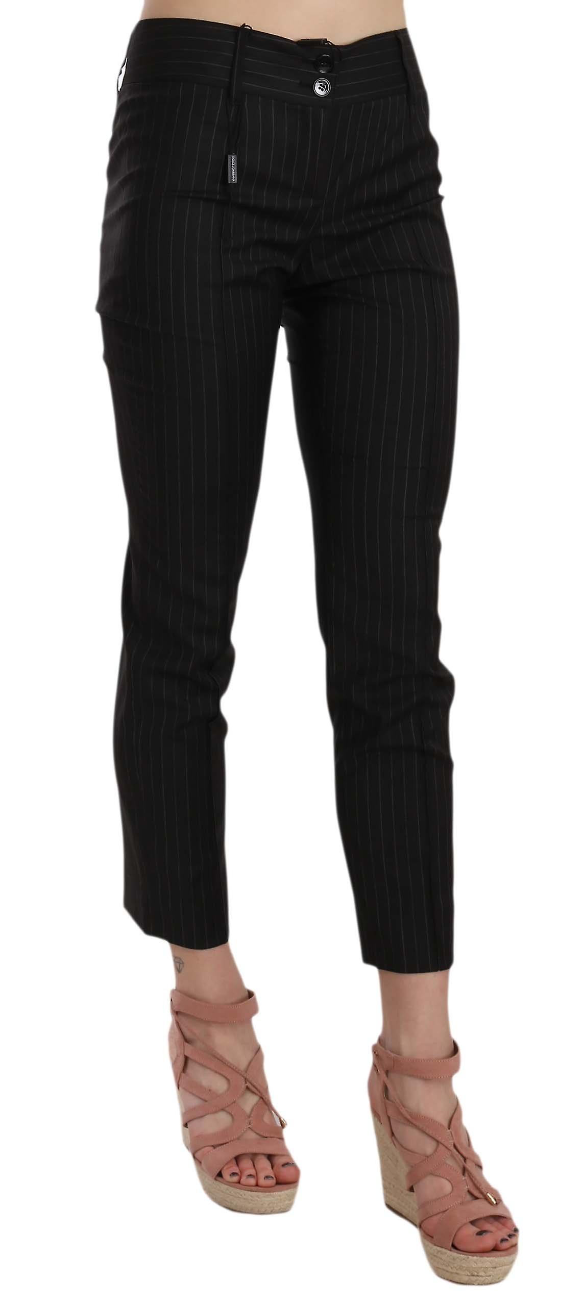 Black wool skinny striped pinstripe pants W6agEY