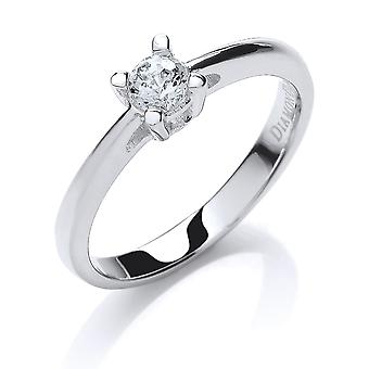 Jewelco London Rhodium Plated Silver White Round Brilliant Crystal Zirconia 4 Claw Solitaire Engagement Ring 50pts