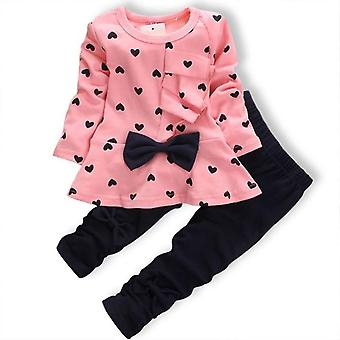 Girls Polka Dot And Bow Knot Long Sleeve Top And Leggings