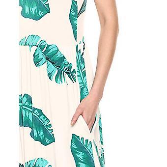 28 Palms Women's Tropical Hawaiian Print Sleeveless Maxi Dress, Banana Leaf White, X-Small