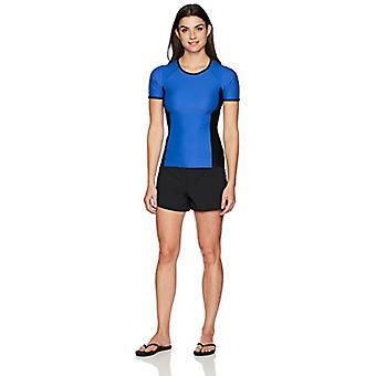 Merk - Coastal Blue Women's Swimwear Drawstring Boardshort met Side Insets, Zwart, S (4-6)