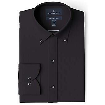 BUTTONED DOWN Men's Slim Fit Button Collar Solid Pocket Options, Black 16
