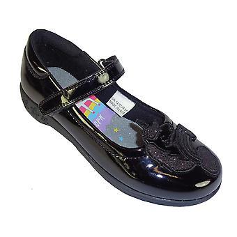 Girls black patent Unicorn school shoes