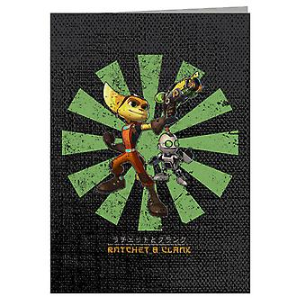 Ratchet And Clank Retro Japanese Greeting Card