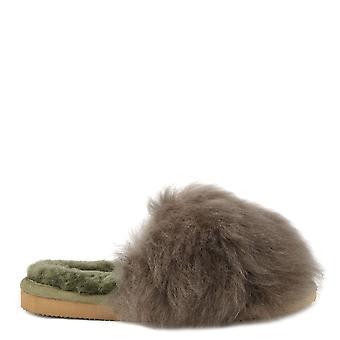 Shepherd of Sweden Tessan Olive Fluffy Slippers
