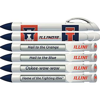 Greeting Pen College Pen- Illinois Fighting Illini Braggin' Rights Rotating Message 6 Pen Set 20533