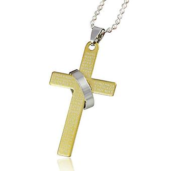 Christian cross in steel with ring in black, gold and silver