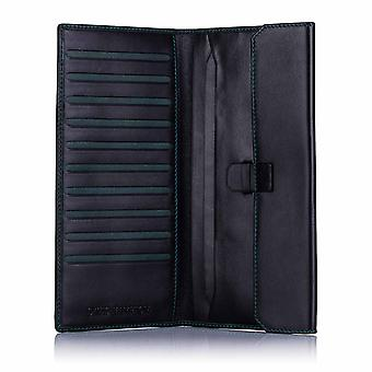 Green Label Luxury Black Leather Slim Travel Wallet
