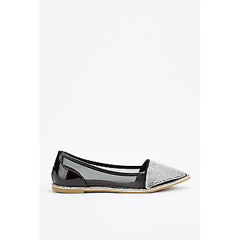 Encrusted Mesh Contrast Loafers