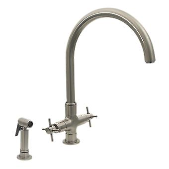 Luxe+ Dual Handle Faucet With Gooseneck Swivel Spout, Cross Style Handles And Solid Brass Side Spray - Brushed Nickel