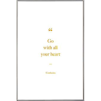 JUNIQE Print - Gold Go with All Your Heart - Peintres & artistes Posters en Or & Blanc