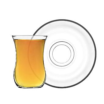 LAV Klasik Glass Tea Cup and Saucer Set - Clear Cups for Coffee, Hot Drinks - 115ml - Set de 12