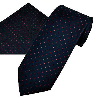 Ties Planet Gold Label Navy Blue & Red Polka Dot Printed Silk Men's Tie & Pocket Square Set