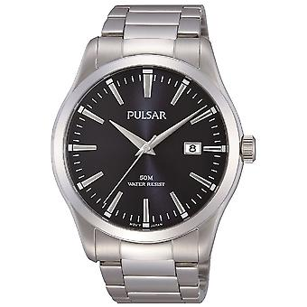 Pulsar Mens Stainless Steel Bracelet With Black Dial 50M Watch (Model. PS9297X1)