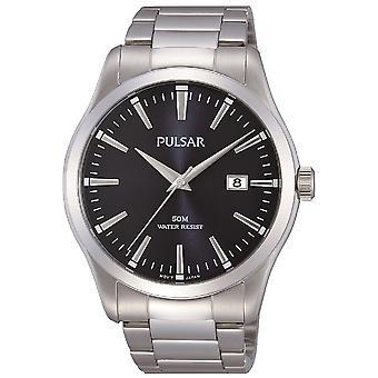 Bracciale Pulsar Mens in acciaio inox con orologio Black Dial 50M (modello. PS9297X1)