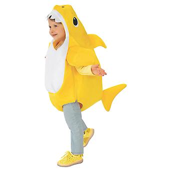 Baby Shark Deluxe Yellow Shark Pinkfong Toddler Girl Boys Costume With Sound 2-4