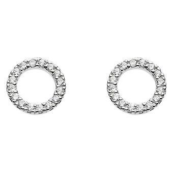 الندى الاسترليني الفضة مكعب زيركونيا فتح دائرة الأقراط مسمار 3882CZ020