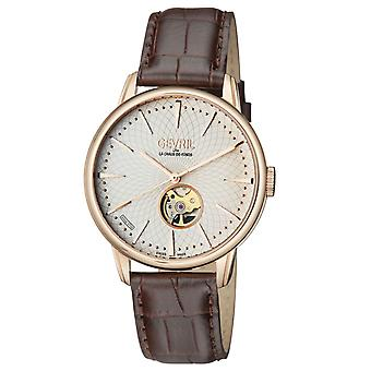 Gevril Men's 9602 Mulberry Automatic IPRG Silver Dial Brown Leather Polshorloge
