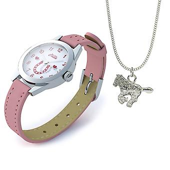 """Relda Girl's-Children White Dial & Pink PU Strap With Buckle + A Horse Pendant Necklace On A 15"""" Base Metal Chain Gift Set"""