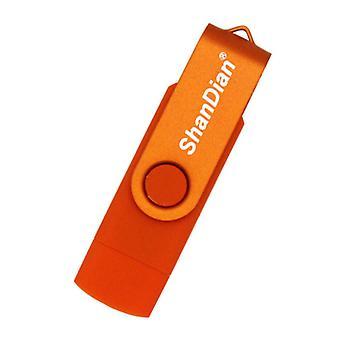 ShanDian High Speed Flash Drive 16GB - USB and USB-C Stick Memory Card - Orange