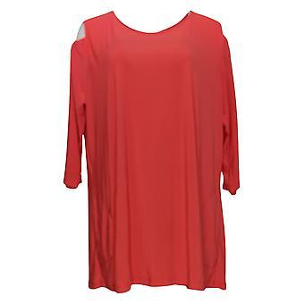 Donne con controllo Women's Plus Top Jersey Cold Shoulder Orange A301313