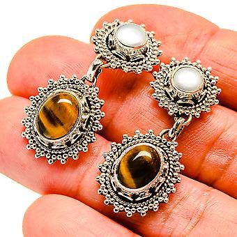 """Tiger Eye, Cultured Pearl Earrings 1 1/2"""" (925 Sterling Silver)  - Handmade Boho Vintage Jewelry EARR407555"""