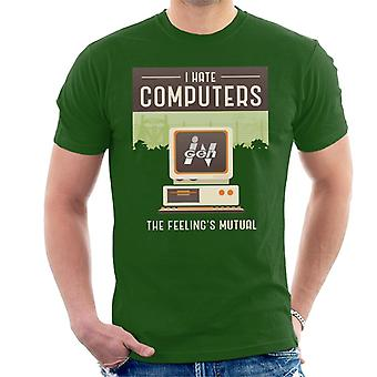 Jurassic Park Ingen I Hate Computers The Feelings Mutual Men's T-Shirt