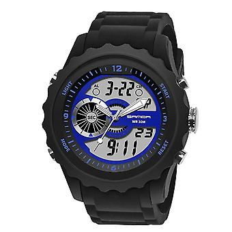 SANDA 769 Dual Digital Digital Watch Men PU Stopwatch Luminous Display Calendar