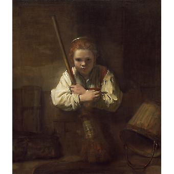 A Girl With A Broom Poster Print