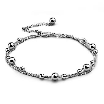 Fashion Contracted, 925 Sterling Silver Anklets - Double Round Bead Chains