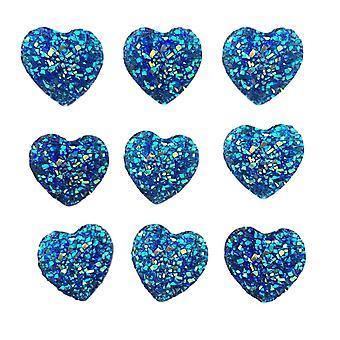 20 gemme cardiache 14mm Blu scuro AB Flat Back Quality Impreziositi in resina