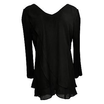 Laurie Felt Women's Top Woven Reversible Pleat Sleeve Blouse Black A379346