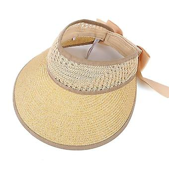 New Collapsible Summer Straw Beach Cap, Sun Protection Visor Hat