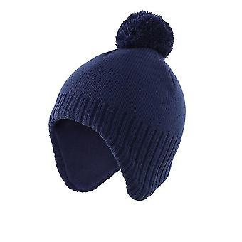 Boys, Fashion Solid Color, Winter Warm Hat, Fleeced Lined Earflap Kids Beanie