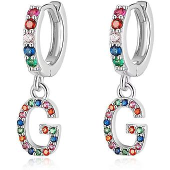 Qings Initial Earrings Dangle Earrings, 925 Sterling Silver Earrings for Girls