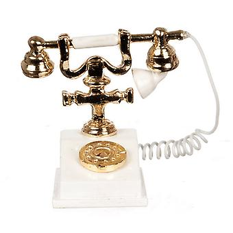 Dolls House Miniature Accessory Classic White Gold 1950 60's Fancy Telephone