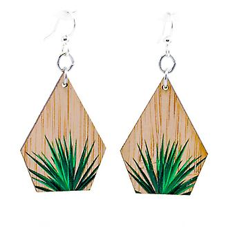 Green Tree Printed Bamboo Earrings