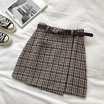 Koreański nieregularne Lady Kobieta Jesień Słodki Wysoka talia-line Mini Spódnica