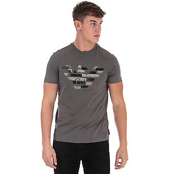Men's Armani verzerrtes Logo T-Shirt in Grau