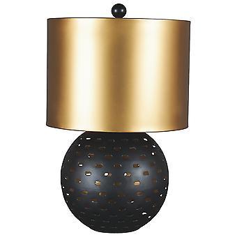 Lámpara de mesa de estructura metálica con base recortada, negro y oro