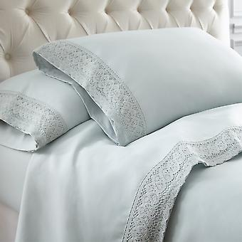Udine 4 Piece Full Size Microfiber Sheet Set With Crochet Lace The Urban Port, Blue
