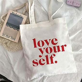 Shopping Art Oil, Painting Graphic Canvas Shoulder, Tote Shopper Bag