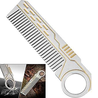 IPRee 4 In 1 Tactical Stainless Steel Comb Safety Survival Emergency EDC Gadget