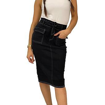 Ženy Denim Stretch sukne dĺžka kolena dlhé základné džínsy vyzerať šaty šev Vrátane pásu
