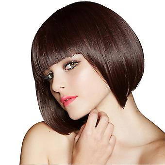 Brand Mall Wigs, Lace Wigs, Realistic Fluffy Short Hair, Straight Brown Wigs