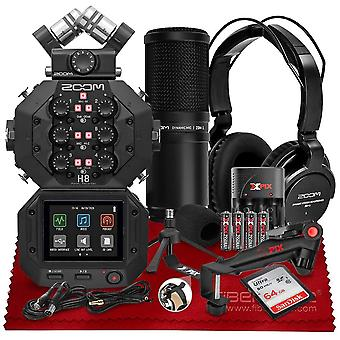 Zoom h8 8-input / 12-track portable multitrack handy recorder - usb audio interface w/ zdm-1 podcast mic pack with headphones, windscreen, ps16583