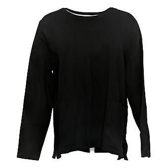 Isaac Mizrahi Live! Vrouwen top lange Slv Jersey W / Pockets zwart A387350